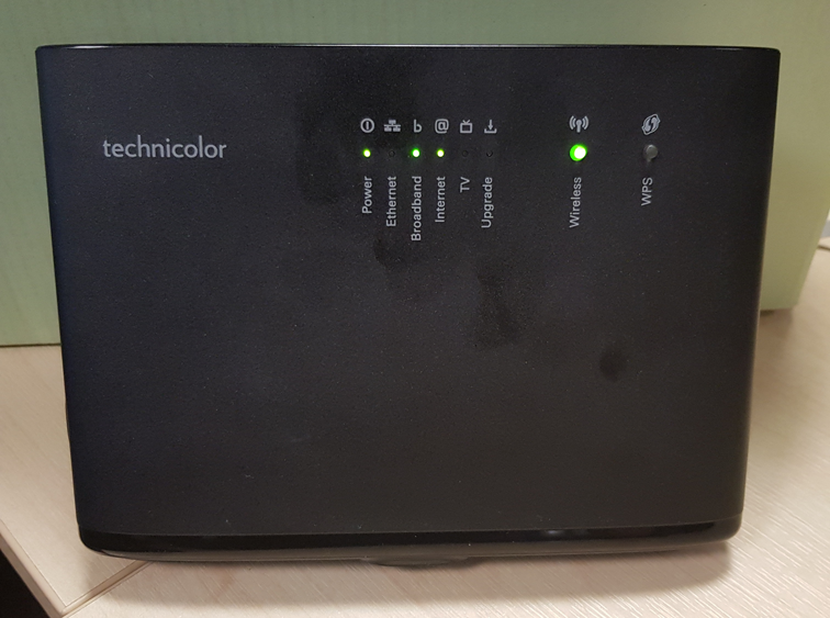 On Modem you can see the power, broadband, internet and wireless lights should all be on and illuminated Green