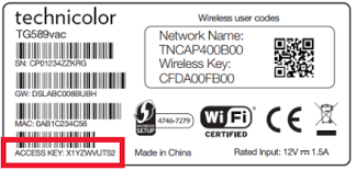 The Access Key on modem tag